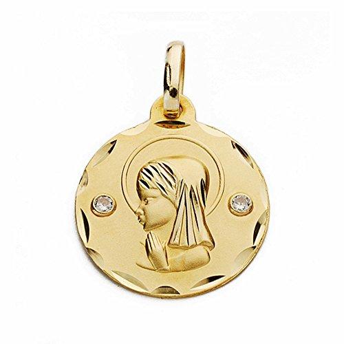 Médaille pendentif 18mm or 18k fille vierge. zircone cubique sculpté [AA2657GR] - personnalisable - ENREGISTREMENT inclus dans le prix
