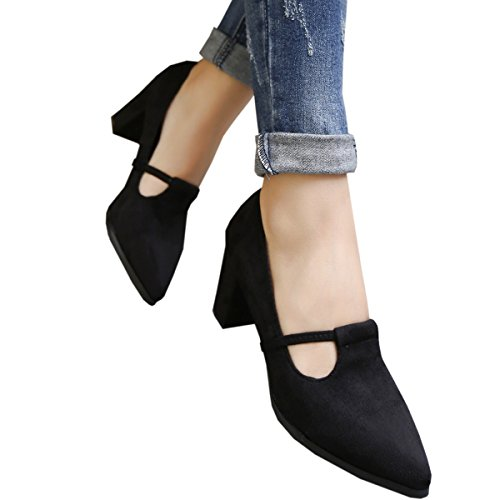 Harshiono Mujeres Suede Mid Thick High Heel Toe Puninted Pump Zapatos Black