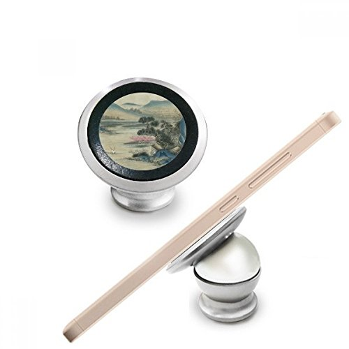 Hills Fishing Boat Chinese Painting Magnetic Phone Mount Car Dashboard Holder Stand 360 Degree Rotation Gift (Hill Telephone Stand)