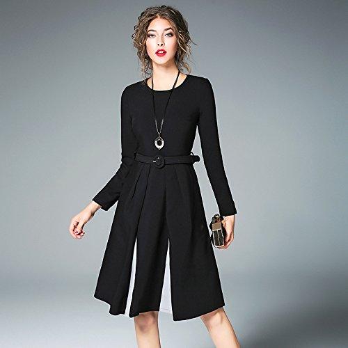 ZHUDJ Las Mujeres Caen _ Vestido Cosido Pequeño Vestido Negro black