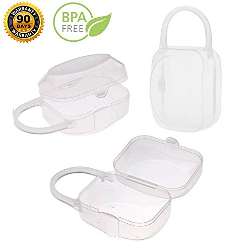 Baby Infant Pacifier Case Box - Nipple Shield Casefor Baby,Protective Travel Pacifier Holder Pouch,Pacifier Storage Box BPA Free,3 Pack