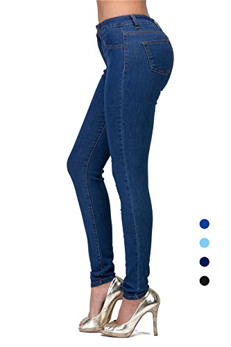 L.B FASHION Mid-Rise Waisted Women Jeans Plus Size Ripped Stretch Skinny Colored Pants Black Blue Olive Khaki Grey red ()