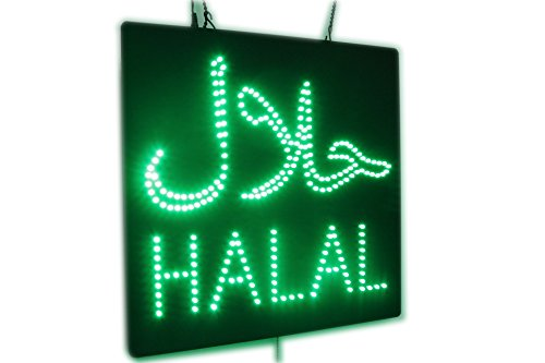 Wholesale Halal Sign with Arabic, Super Bright High Quality Open Sign, Store Sign, Business Sign, Windows Sign for Halal Restaurants hot sale