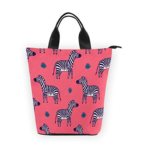 InterestPrint Nylon Cylinder Lunch Bag White Black Zebra Tote Lunchbox Handbag -
