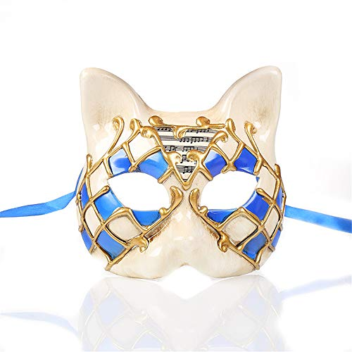 Halloween Animal Mask,Venice Children's Mask,Half Face Mask,Party Cat New Creative Mask Blue
