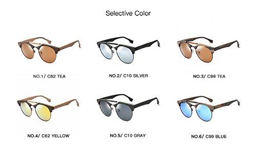 unisex tamaño Pieza Película Gafas sol con YINGM montura y montura de Gafas té sol de Gafas grande de Un sol gris de madera polarizadas con doble de estilo Zfnd1f4F