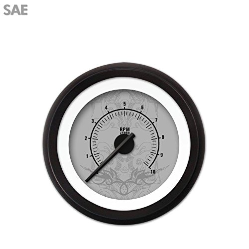 Black Modern Needles, Black Trim Rings, Style Kit DIY Install Aurora Instruments 3585 Tribal Gray Tachometer Gauge