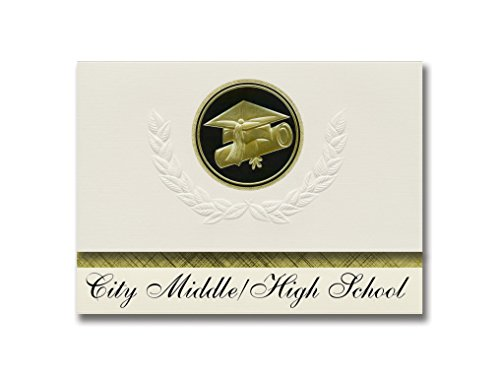 Signature Announcements City Middle/High School (Grand Rapids, MI) Graduation Announcements, Presidential style, Elite package of 25 Cap & Diploma Seal. Black & Gold. for $<!--$99.99-->