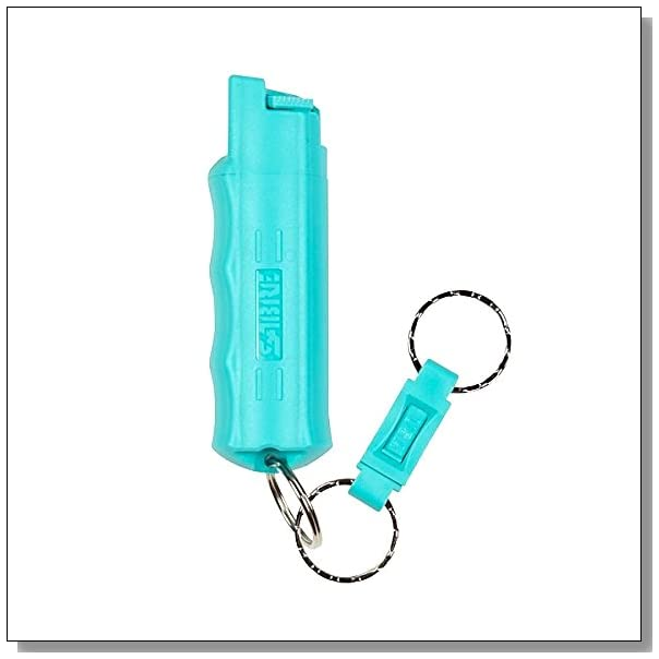 SABRE Red Kuros! Pepper Spray?Police Strength?Aqua Key Case with Quick Release Key Ring, 25 Bursts & 10-Foot (3 m) Range