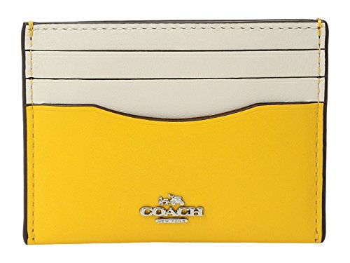 COACH Women's Box Program Color Block Flat Card Case Sv/Yellow Chalk Wallet Yellow Flat Wallet