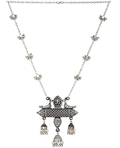 Total Fashion Afghani Oxidised German Silver Jewellery Stylish Antique Designer Chain Pendant Necklace Set for Women & Girls