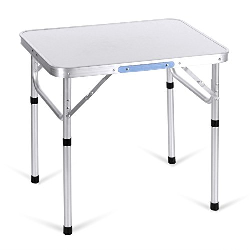 Cheap Lantusi 2FT Aluminum Camping Folding Table with Carrying Handle, Folding Utility Table, Indoor Outdoor Use Patio Camp Party Table, Silver (US STOCK)