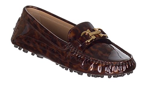 - Salvatore Ferragamo Women's Saba Tortoise Patent Leather Gancini Loafer Drivers Shoes, 4.5, Brown