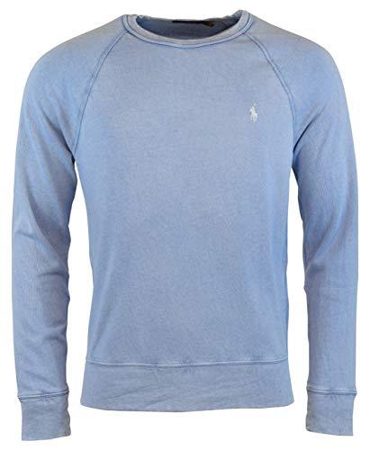 RALPH LAUREN Polo Men's Cotton Spa Terry Long Sleeve Crew Neck Sweatshirt City (City Blue, Medium) (Ralph Lauren Fleece Mens)