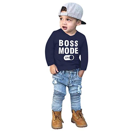 (Kids Tops 2-7 Years Old,Baby Toddler Boys Autumn Winter Clothes Long Sleeve Letter Print T-Shirt Tees Outfit (18-24 Months, Dark Blue))