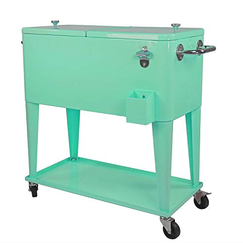 (Clevr 80 Quart Qt Rolling Cooler Ice Chest Cart for Outdoor Patio Deck Party, Retro Seafoam, Portable Backyard Party Bar Cold Drink Beverage Tub Trolley, Wheels with Shelf, Stand, Bottle Opener)
