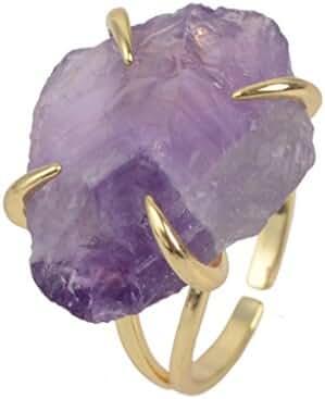 ZENGORI Irregular Purple Amethyst Four-claw Adjustable Ring for Women Gemstones Jewelry