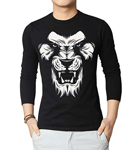 Miracle(Tm) Lion Face Black Graphic Tee for Men - Adult Black Casual Shirt (L) -