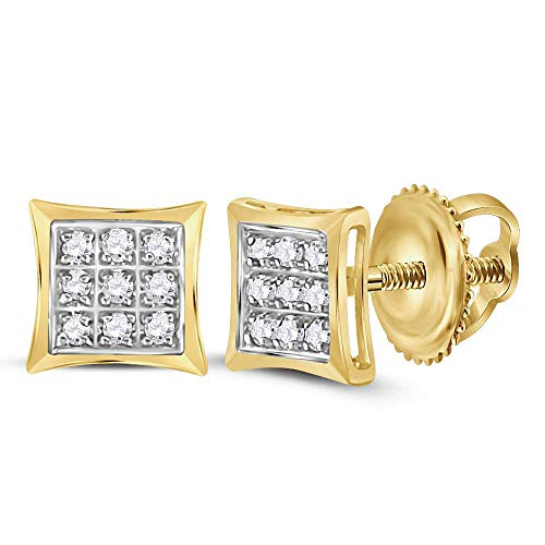 The Diamond Deal 10kt Yellow Gold Womens Round Diamond Square Kite Cluster Stud Earrings 1/20 -