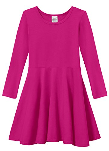 City Threads Little Girls' Super Soft Cotton Long Sleeve Twirly Skater Party Dress, Hot Pink, 6 ()