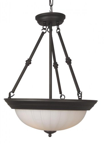 Craftmade X125-OB 3 Light Inverted Pendant, Oiled Bronze (Frosted Melon Step Pan)