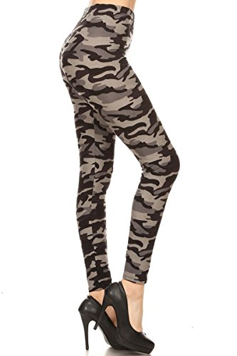 S516-PLUS Army Grey Camo Print Fashion Leggings