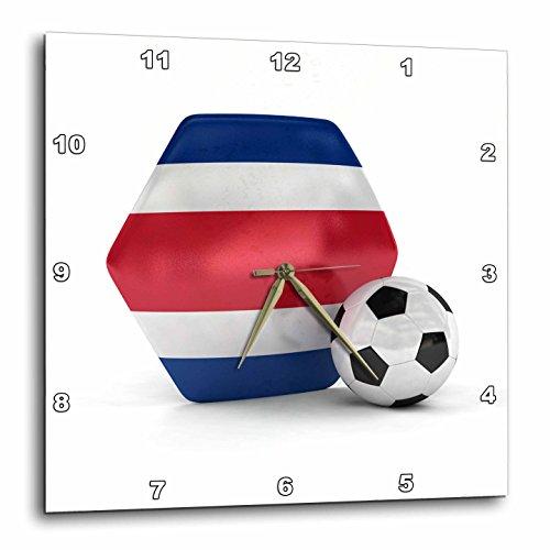 3dRose Costa Rica Soccer Ball - Wall Clock, 10 by 10'' (DPP_181897_1) by 3dRose