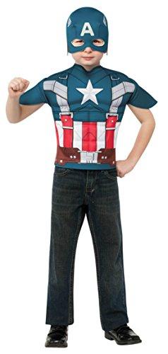 Boys Captain America Kids Child Fancy Dress Party Halloween Costume, S (4-6) (Captain America Toddler Girl Costume)