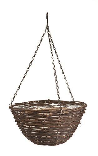 Panacea 88641 Rattan Hanging Basket, Black, 14-Inch