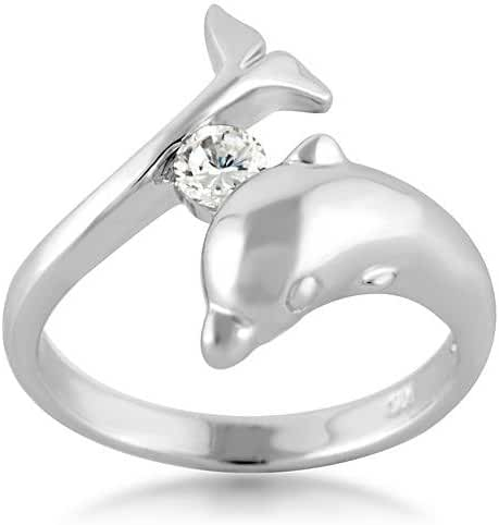 925 Sterling Silver Cubic Zirconia CZ Dolphin Porpose Fish Ring