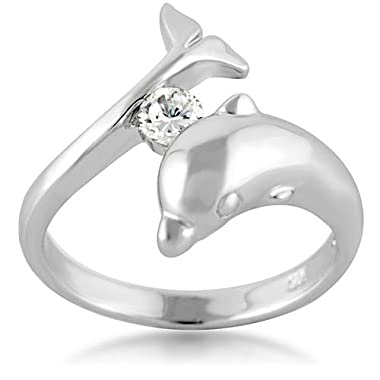 925 Sterling Silver Cubic Zirconia CZ Dolphin Porpose Fish Ring Size 8 country