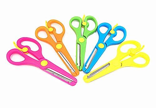 Kinteshun Children Scissors,Kids' Artwork Blunt Tip Anti-pinch Shears Students Cutter Scissors for DIY Handcraft Projects(5pcs) (School Works Scissors Safety)