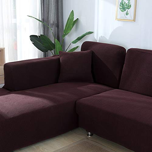 Hengwei Sectional Sofa Cover Stretch Couch Slipcover 1 Pcs DIY (Buy 2/3 for L / U Shape Sofa)-Soft Polyester Fabric Form Fit Furniture Protector for Kids Pets Home Gift(Brown, A-3 Seat 74-90in)