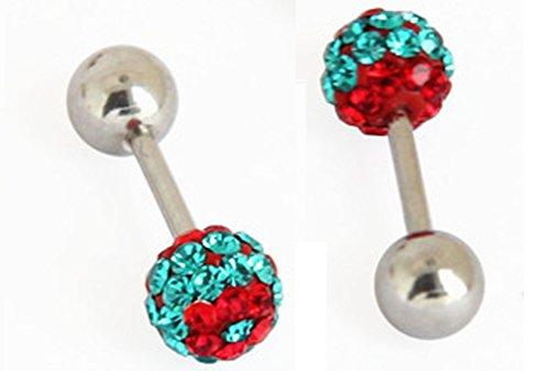 Thenice 1 Pair Earrings 6mm Crystal Ball Beads Peas Ear Bone Ear Studs (Mixed Colors A)