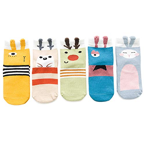 Newborn Baby Toddler Socks Girls Boys Socks Cartoon Animals Winter Cotton Socks 5 Pairs(Long-eared Rabbit,S(1t-3t))
