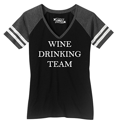 Comical Shirt Ladies Game V-Neck Tee Wine Drinking Team Tee Black/Heathered Charcoal 2XL (Drinking Team Light T-shirt)