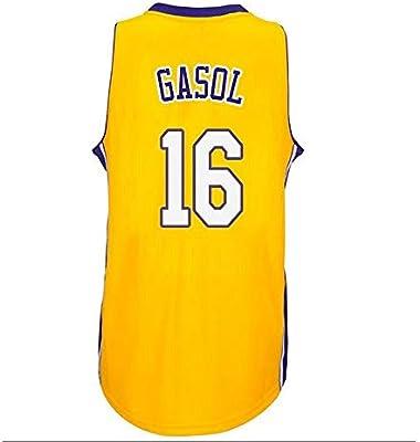 PAU Gasol # 16 del Desgaste de Baloncesto de los Hombres -Los Ángeles Lakers - Mangas de los Hombres sin Mangas (Color : Amarillo, Size : XL): Amazon.es: Deportes y aire libre