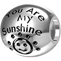 """You are My Sunshine, My Only Sunshine"" 925 Silver Bead Fit Pandora Charms"