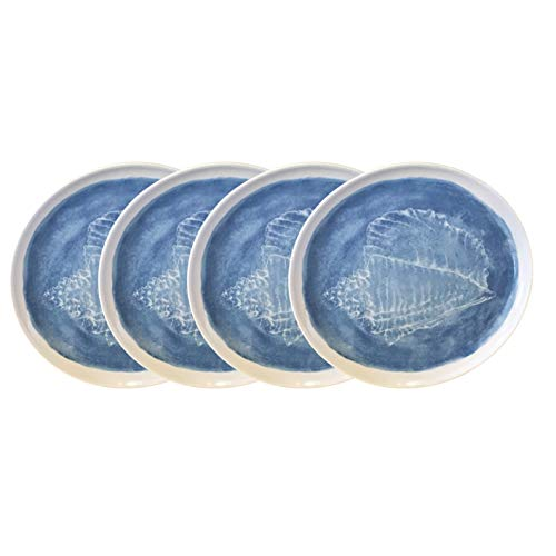Nautical Themed Appetizers (Melamine Summer Nautical Plate Set of 4 - Ocean Themed Starfish & Seashells (Conch Shell Maya Blue &)