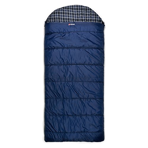 Trailside Dawson 6 Hooded Rectangular Synthetic -15-Degree Sleeping Bag, Blue, X-Large