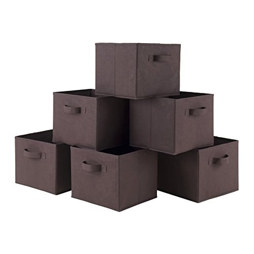 LUXEHOME Home Decorative Foldable Coffee Color Storage Box Set , Natural  Canvas, Set Of 6