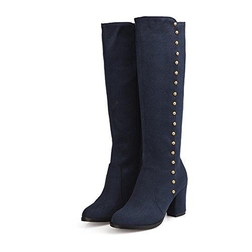 Mode Hälen Kvinna Chunky Häl Rund Tå Nitar Ovanför Knät Boot Plus Size Blå