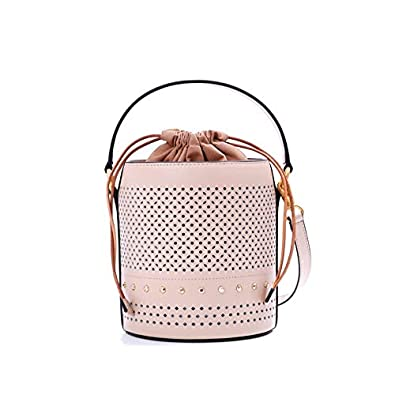 Amazon.com: Leather Luxury Famous Brand Women Bag Hollow Out Bucket Bag Women Handbag Female Real Leather Tote Bag Color apricot 17cm by 15cm: Shoes