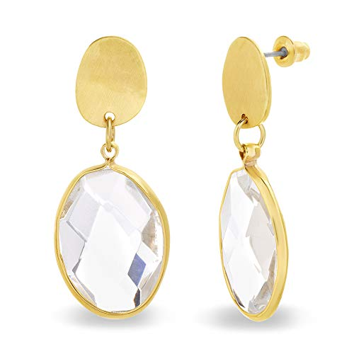 Catherine Malandrino Geo Shaped Oval Rhinestone Yellow Gold -Tone Drop Dangle Earrings for - Oval Expanded Metal