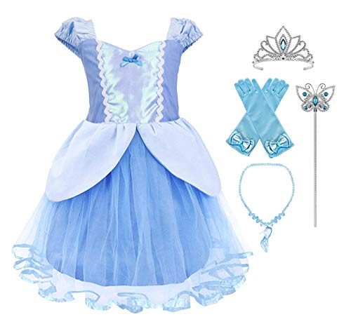 Princess Cinderella Rapunzel Little Mermaid Dress Costume for Baby Toddler Girl (5, Cinderella with -