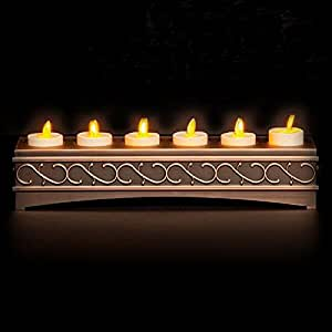 6 Set Ivory Luminara Flameless Candles with Antique Bronze Recharging Base with Timer Remote Included