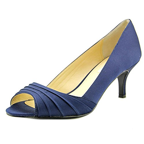 Nina Women's Carolyn Open Toe Pump,New Navy Luster Satin,US 9 M - Stiletto Heel Satin Top