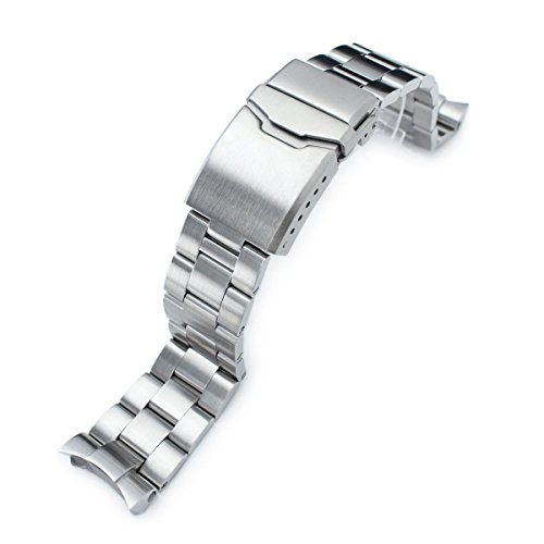 22mm Super Oyster Watch Band for SEIKO Diver SKX007 SKX009, Brushed, Button ()