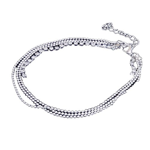 Clearance Multi Layer Silver Crystal Ball Bracelet Anklet Ankle Foot Chain Women Jewelry by Laimeng (Silver) - Amethyst Layer Dress