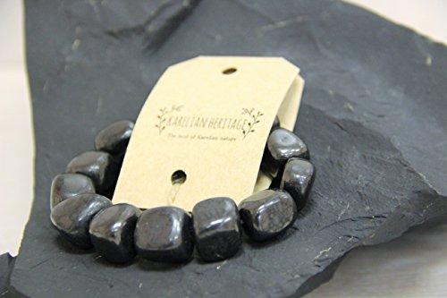 Karelian Heritage Genuine Regular Shungite Tumbled Bracelet, Round Pendant,  and Elite Stone Set S012